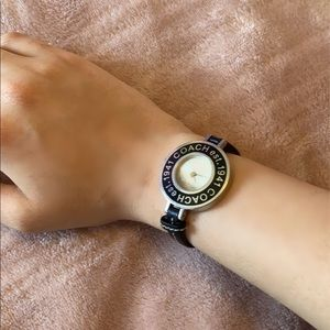 Black leather coach watch